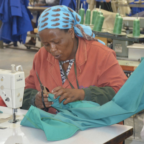 Photo: A worker at the Premier Clothing in Gaborone